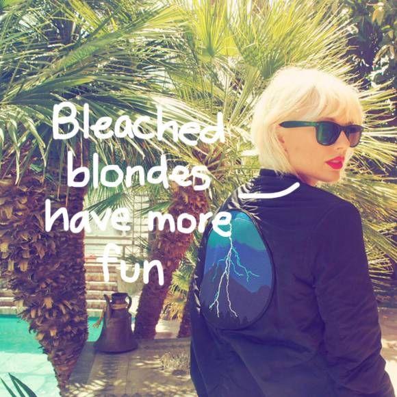 Taylor Swift goes bleach blonde.