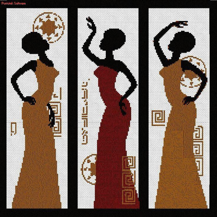 0 point de croix femmes africaines dansant - cross stitch dancing african ladies