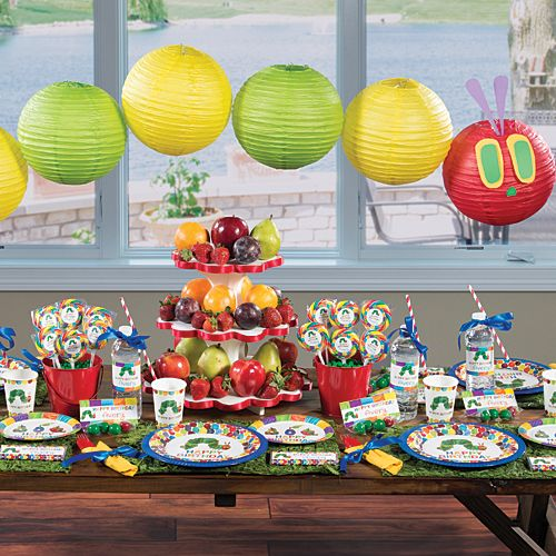Our exclusive Very Hungry Caterpillar Party Supplies feature the adorable hungry caterpillar with an adorable colored tiled accents.