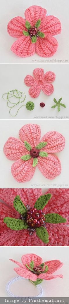 "#Crochet #Tutorial ""Beaded flower tutorial with many pictures and Russian text. A useful flower for hats, brooches, etc."" #KnittingGuru http://www.pinterest.com/KnittingGuru Go to mark-mari.blogspot for more info."