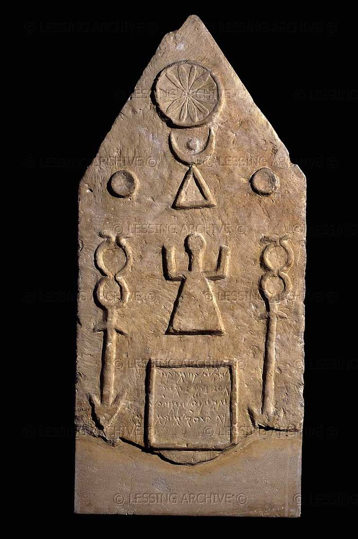 Phoenician grave stele from Tophet in Carthage (modern Tunisia). Such grave markers were set up over burial urns for small children and animals which had been sacrificed to the goddess Tanit and her consort Baal Hammon.  Canaanite symbolism: sun,crescent moon and triangle; the goddess below.   British Museum, London.