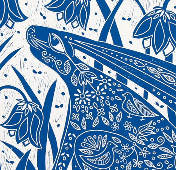 The Hare is resting amongst the grass and bluebells, enjoying the sun on her back and the smell of summer! The Fox and Fern makes a nice companion, please contact me if you would like to buy the pair, as I will give you a small discount. Note you can ask me to print in a color of your choice!  This large blue and white linocut, is printed on a warm white velvety piece of Canson printmaking paper. Please note you can ask me to print in a color of your choice! WHAT IS A LINOCUT?: All my…