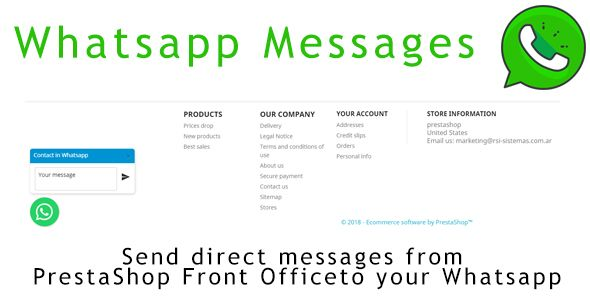 Whatsapp Msg Whatsapp Msg Allows You To Send Messages Through Your Prestashop Website Directly To Your Phone If The C In 2021 Whatsapp Message Messages Send Message
