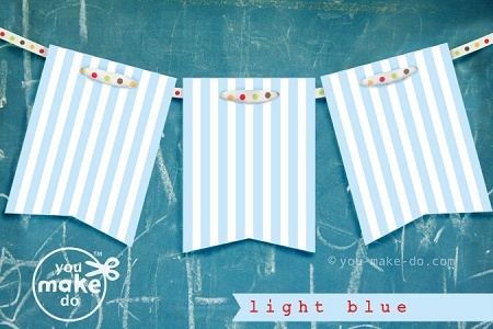 Striped party banner printables to make your own light blue and white striped garland!  #party #babyshower #birthday #printables