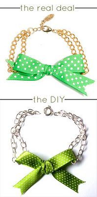This tutorial is super fast and super easy! Ettika is a jewelry company popular among celebs and fashionistas alike, and their works have appeared in a ton of fashion magazines as well. This bow bracelet is totally doable for a DIY, and it doesn't require mad skills to make! This sells for $32 on their site. You can make yours for less than $3. Who needs to know?!