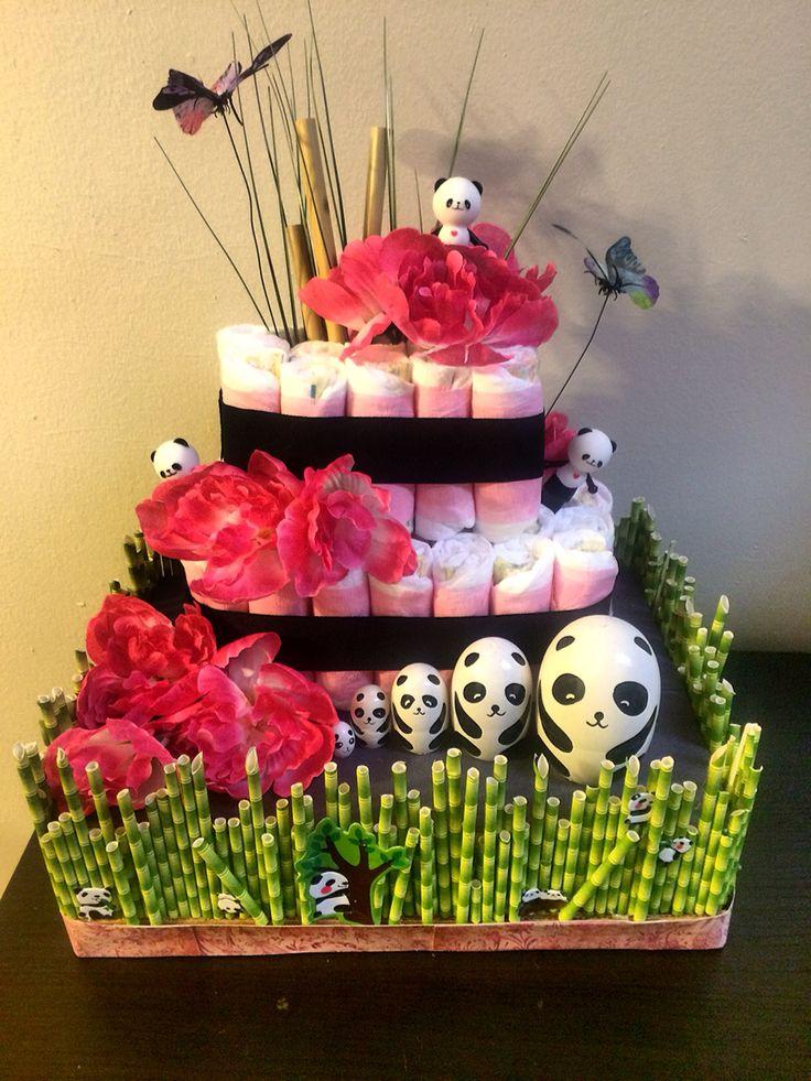 Panda diaper cake baby panda diaper cake pinterest for Diaper crafts for baby shower