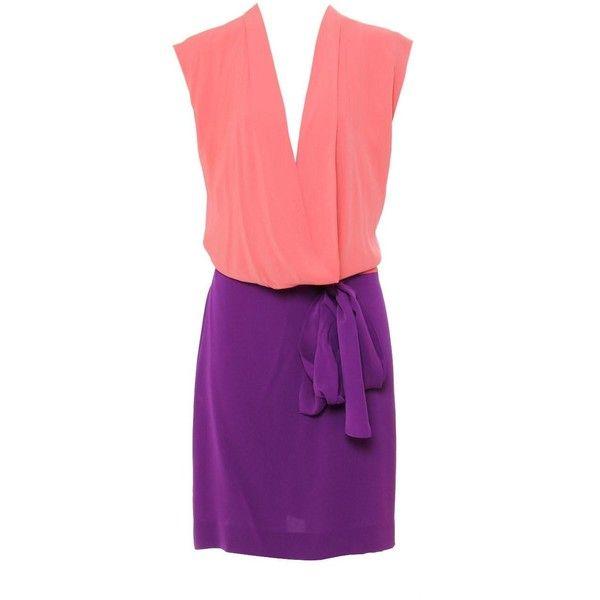 Diane Von Furstenberg Peach/Purple Low Cowl Neck 'Reara' Silk Dress found on Polyvore
