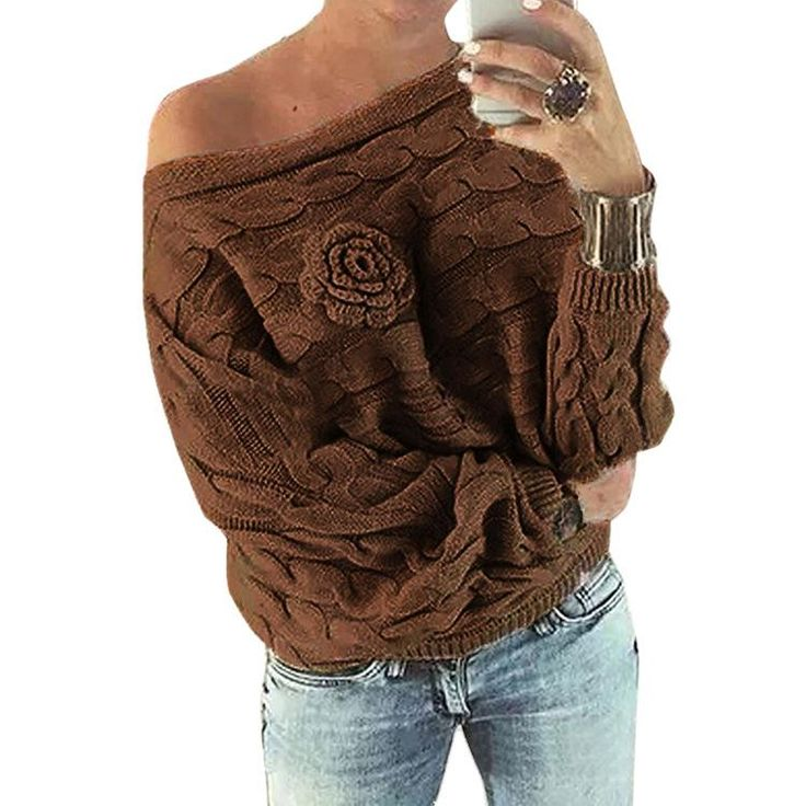 Cable Flower Knit Thick Pullover Short Sweater