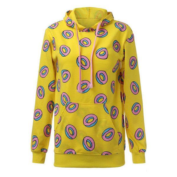 GOT7 Mark Yellow Donut Sweater Hoodie ($11) via Polyvore featuring tops, hoodies, hoodie top, star hoodie, yellow hoodies, star print top and hooded sweatshirt