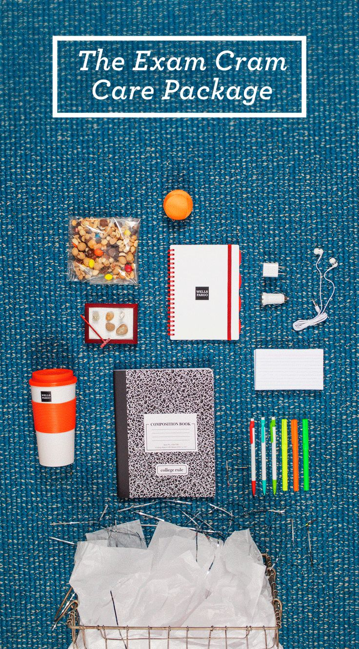 """""""Students, you may open your test booklets."""" College exams – you know the drill. Some of us still retake them again and again in our dreams! To ease the load for a college-bound student, why not send an Exam Cram Care Package? Here are some ideas."""
