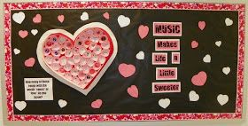 "Valentine's Day bulletin board for any classroom.  Use cupcake papers to make a giant, heart-shaped ""candy"" box."