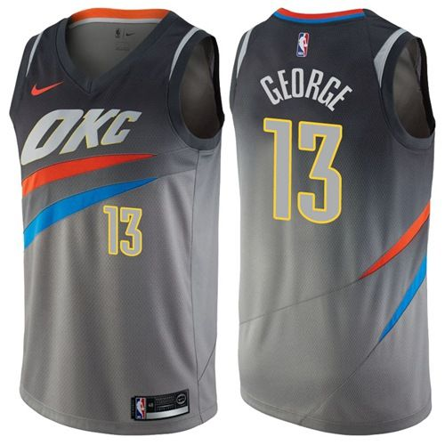f14505191e6 Nike Thunder #13 Paul George Gray NBA Swingman City Edition Jersey ...