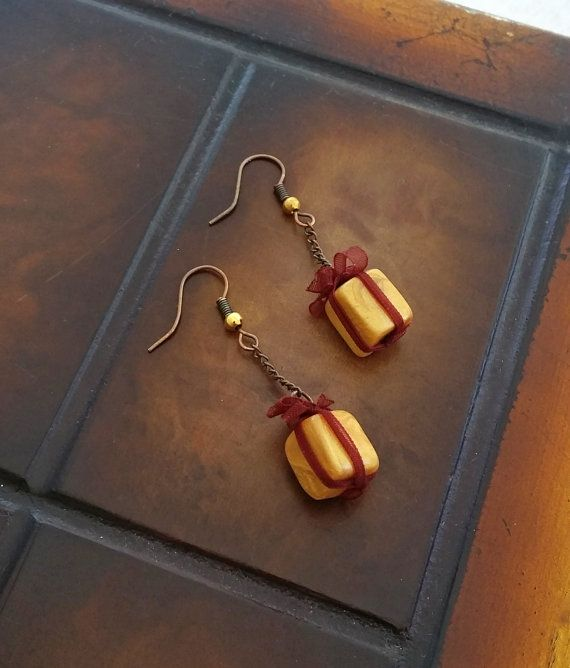 Gift Box Miniature Earrings  Present Charm by EvasCreationsShop