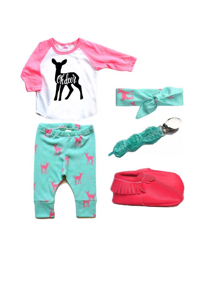 """""""Oh Deer!"""" little girl's outfit - tee by Crew + Co, leggings and headband by Wild Hearted Apparel, cutie clip by Ryan & Rose, moccs by Sweet n Swag #trendykidsclothing #hipkids"""