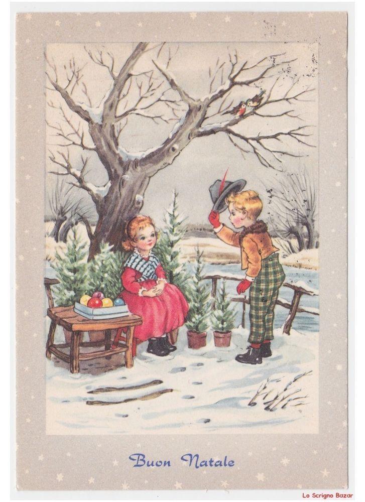 Cartoline Di Natale Anni 30.Dettagli Su Cartolina Vintage Con Bambini Venditrice Di