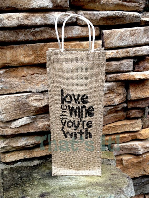 Burlap Wine Bag Hand Painted in NC Holiday Gift Bag Hostess Gift Next Day Shipping  Wine Bag Tote #HEPTEAM