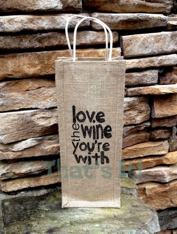 Burlap Wine Bag Hand Painted in USA Holiday Gift Bag Hostess Gift #bestofEtsy #wedding