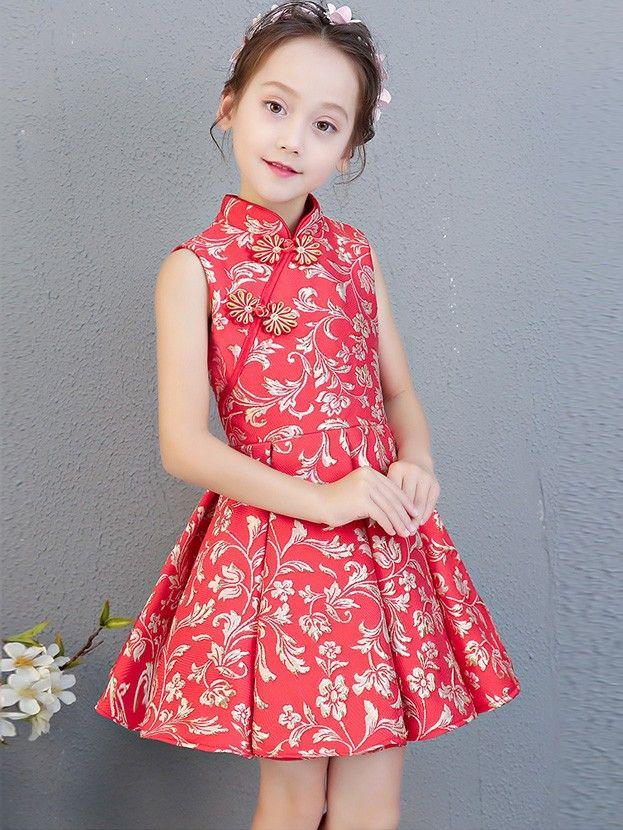 4423de7cd Red Woven Floral A-Line Kids Girls Cheongsam / Qipao Dress Chinese Dress  For Kids