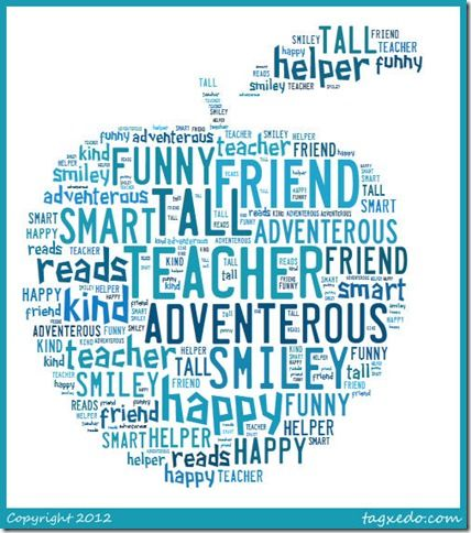 http://www.tagxedo.com  This website allows you to create a shape filled with any words you'd like. There are a variety of shapes, colors, and choices but you cannot go wrong with this apple for Teacher Appreciation week.