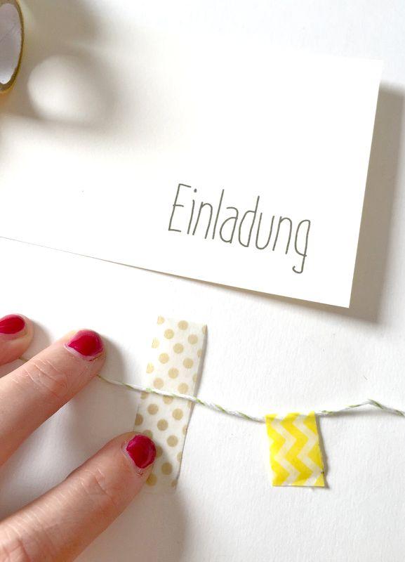 DIY Einladungskarte mit Wimpelkette