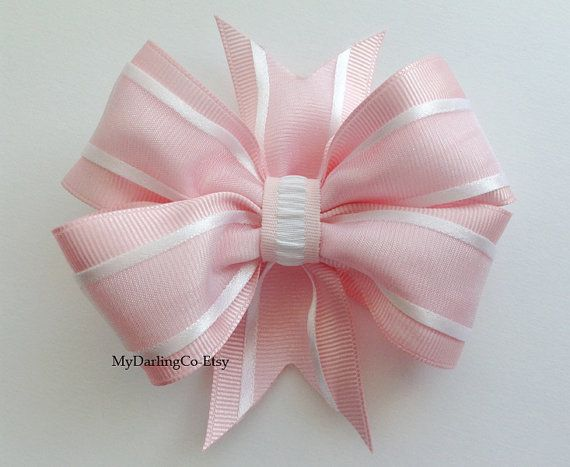 """Pink Shiny Grosgrain & Sheer White 4 Bow With Fashionable Gathered Center Accent. Item #237 Measurements: 4 3/8"""" Across.    Available in Toddler"""