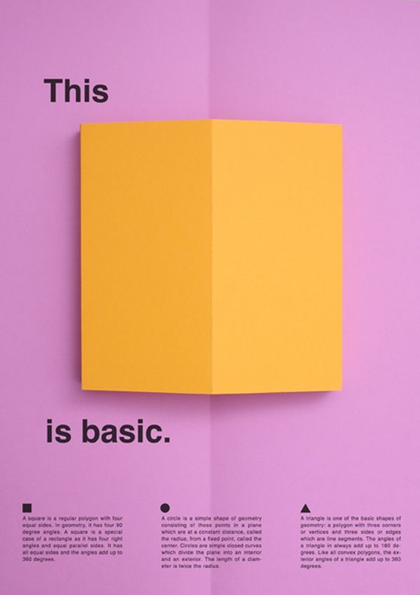 This is basic. - Graphic Design - Poster, Pop-up Shapes, Three-dimensional, Shadow, Basic Shapes, Bright Colors, Purple, Yellow, Minimal, Dutch Design Week, International Typographic Style