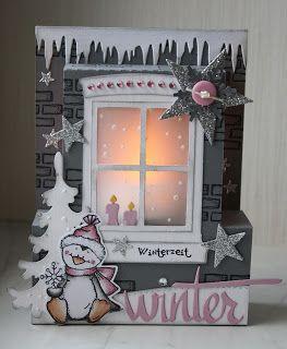 Steffi´s Stempelkeller : Winterliche Fenster-Teelichtkarte