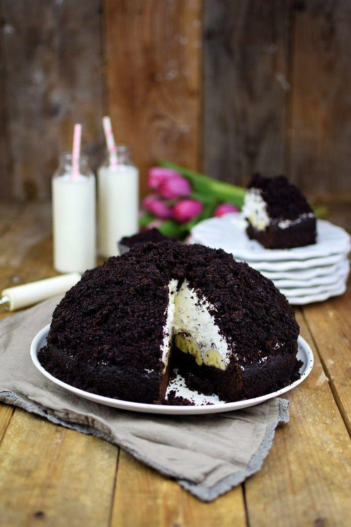 Maulwurfkuchen - Schokoladenkuchen mit Bananen und Sahne-Creme - Mole Cake - Chocolate Banana Cream Cake Pie | Das Knusperstübchen