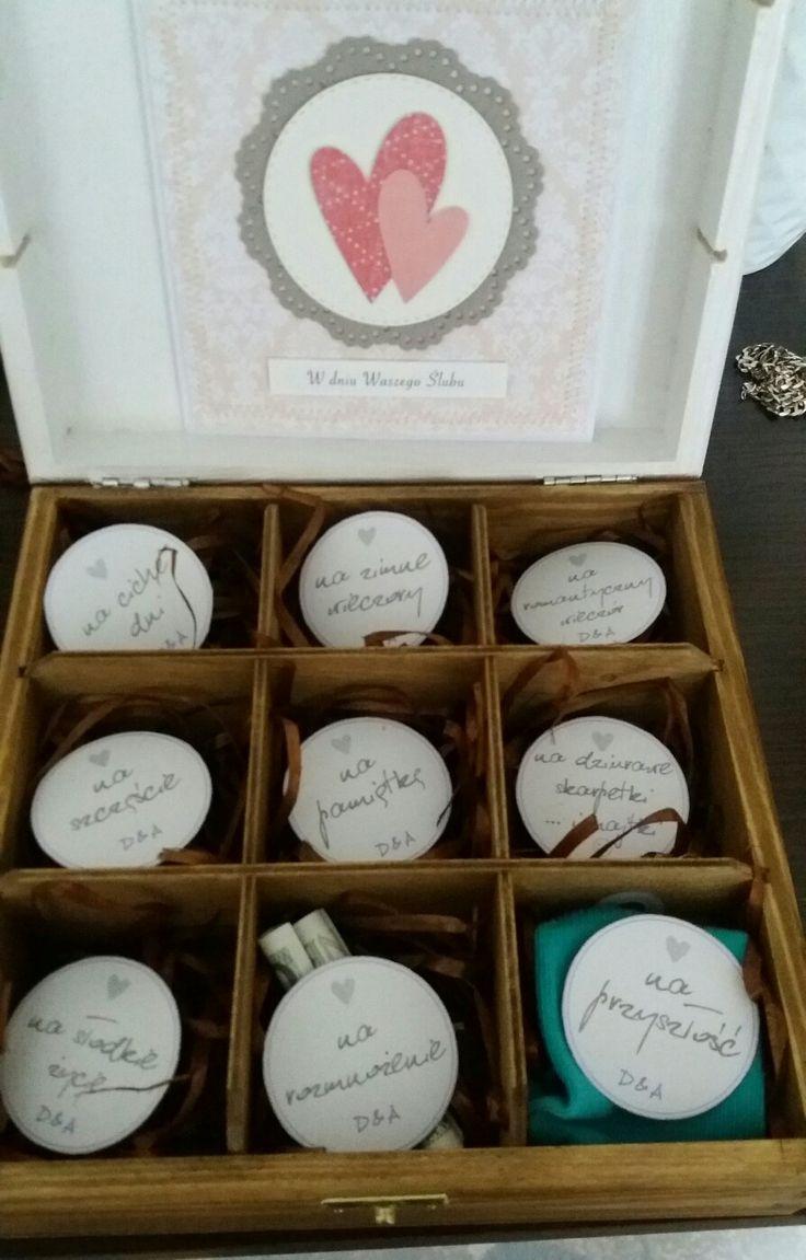 Prezent ślubny, diy, oryginalny prezent dla młodych, skrzyneczka na ślub