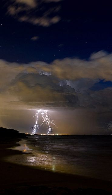 Such drama! lightningClouds, Lightning Strike, The Ocean, Mothers Nature, Weather, Lightning Storms, Beach, Beautiful Shots, Weights Loss