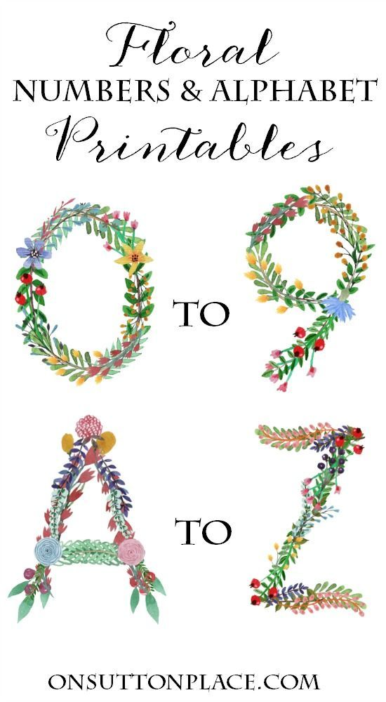 A to Z Floral Alphabet and 0 to 9 Floral Number Printables | Includes one set of letters/numbers suitable for framing and crafts. A second blocked set is also included for easy banner-making. Use for bridal or baby showers, rehearsal dinners, birthday parties and more!