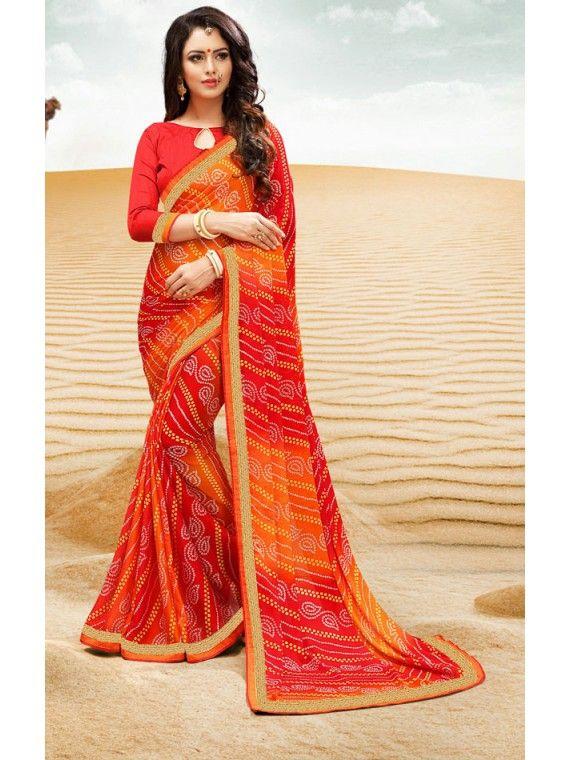 Live Red and Orange Online Georgette Bandhej Saree