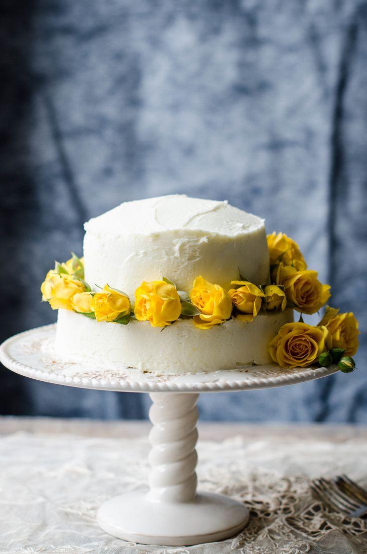 Lemon cake with lemon buttercream.