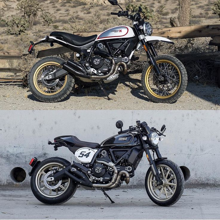 bike-exif: Ducati took the Scrambler in two very different directions at #EICMA2016 the more dirt-capable Desert Sled (top) and the street-biased Cafe Racer (bottom). Which would you pick? . Images courtesy of @ducatimotor / @scramblerducati . #ducati #scramblerducati #landofjoy #eicma #newbikes #desertsled #caferacer #bikeexif