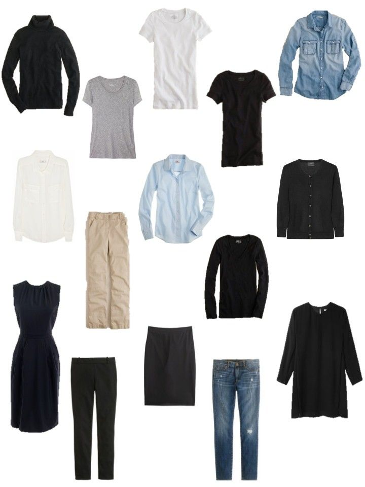 French Wardrobe Capsule   all clothes - J. Crew EXCEPT black long-sleeved dress - T by Alexander ...