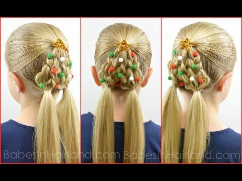 Braided Christmas Tree How to Video Tutorial.  Very cute without the decorations too, but I start the center ponytail up higher.