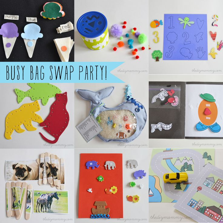 "A ""Busy Bag"" Swap Party (with tons of great links to toddler"