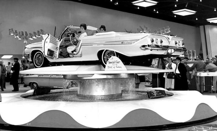 Chevrolet exhibited this 61 Impala Special convertible during the 1961 Chicago Auto Show. This one-off two-door ragtop featured a unique exterior mother-of-pearl paint; real wire wheel wheels, restyled interior trim.
