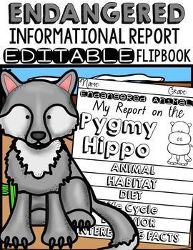 Have your students write Informational Reports on 15 endangered animals! These editable flipbooks scaffold the structural components of an Informational Report at each stage of the writing process. This resource can be used as a stand-alone flipbook or in an interactive notebook. https://www.teacherspayteachers.com/Product/ANIMAL-REPORT-ENDANGERED-ANIMALS-INFORMATIVE-WRITING-2454878