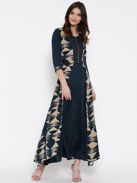 f151afe8b124 Navy and beige printed woven maxi dress, has a round neck, three-quarter  sleeves, flared hem