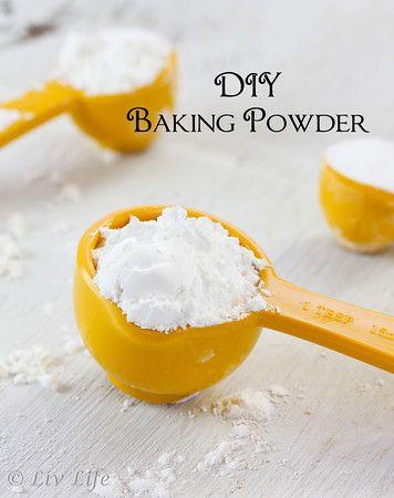 Homemade Baking Powder - using cream of tartar, corn starch & baking soda (bonus, aluminum free)