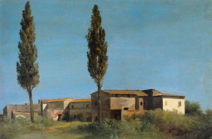 Pierre-Henri de Valenciennes. Bâtiments de ferme à la Villa Farnèse, les deux peupliers (1780)