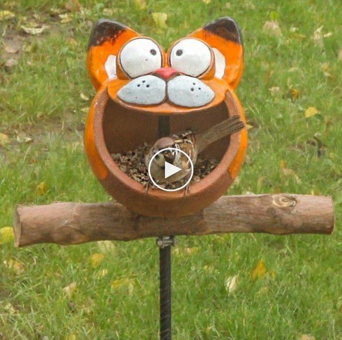 """GKR111 Gartendekoration """"Vogelfutter Katze""""   – Katzen"""