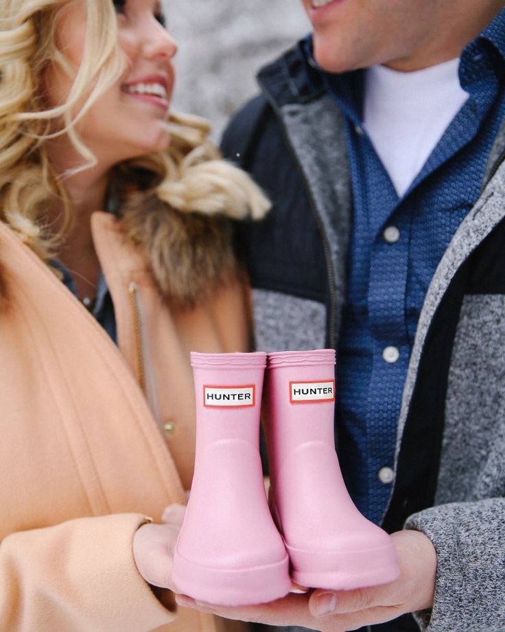 Baby Announcement with Baby Hunter Boots! More