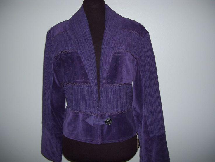 Dark Purple Flashback Wide Wale Corduroy & Velvet Jacket w/ Crochet Detail S 4-6 #Flashback #Blazer