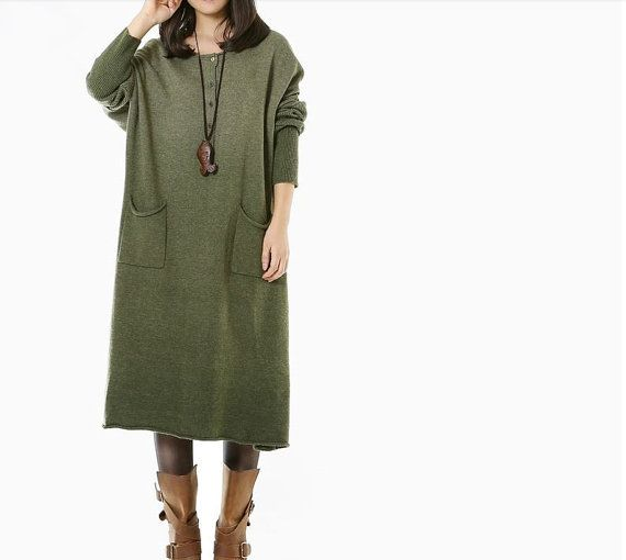 women Sweater dress knitwear sweater wool dress by cottondress23