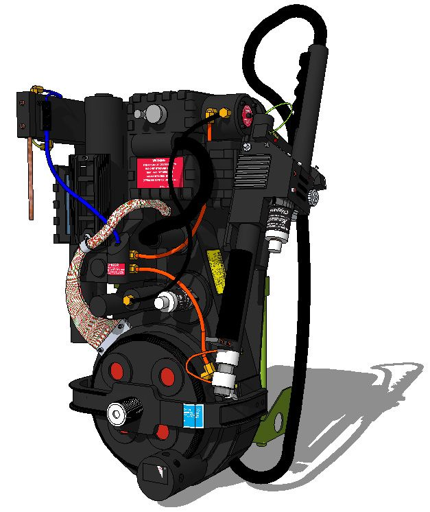 Model and render I made of the Ghostbusters Proton Pack pack in SketchUp.