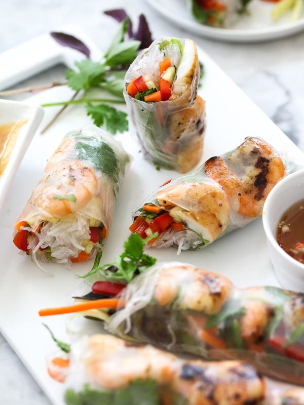 Grilled Shrimp Vietnamese Spring Roll by foodiecrush: An easy marinade and quick grill adds a nice broiled char and extra flavor. #Spring_Rolls #Shrimp #Grilling #Healthy #Light