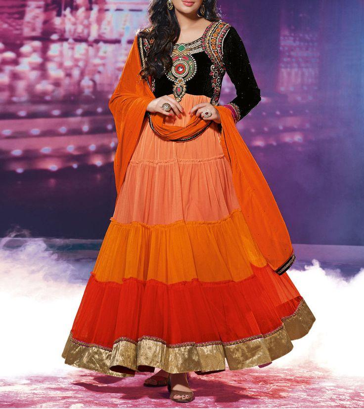 #Orange #Georgette Semi Stitched #Anarkali #Suit  #Navratri #Sale #readytoship Was $130 |  Is $76
