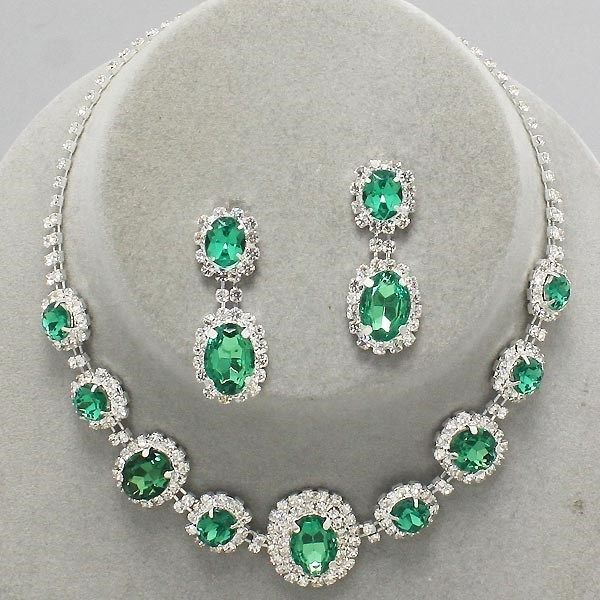 #Bridal #Wedding #Prom #SILVER #EMERALD #Green #Rhinestone #Costume #Jewelry #Necklace #Earrings #Set